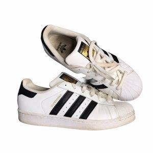 Adidas | Superstar White w/ Black Stripes Sneakers